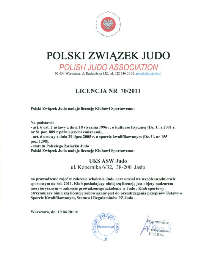 Certyfikat UKS ASW-Judo Jasło