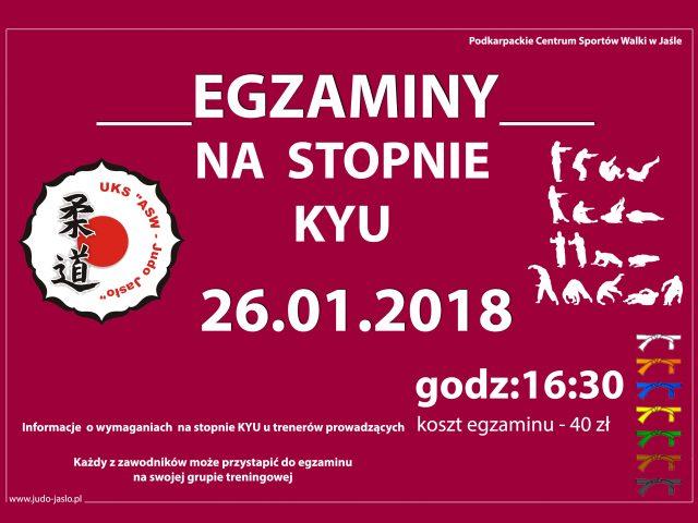 EGZAMINY NA STOPNIE KYU – 26.01.2018